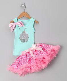 Teal Cupcake Tank & Pink Pettiskirt - Infant, Toddler & Girls #zulily #zulilyfinds