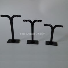 (1 set=3 pieces) Fashion Acrylic Earring Display Stand Holder Black Jewelry Display