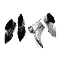 Flat lay. Acne Studios Jensen Boots Black and Silver. #flatlay - OVRSLO