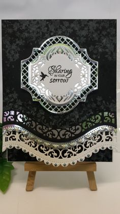 Sympathy Card made with SB Curved Borders, Labels 41 & Decorative Labels 41. Stamped with Justrite Caring Thoughts Sentiments, Inkylicious Humming Bird Garden using Versa Ink White
