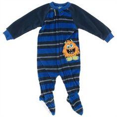Royal Blue Striped Monster Blanket Sleeper for Boys