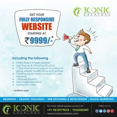We provide fully responsive website designing services with extensive array of strategies from mobile screens to desktops.  for more details please visit our website www.iconiccreators.com Or You can make a call at +91 9555 5854 89 / 9810 9798 18