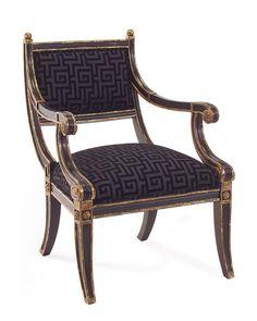 B213 Gild Ebony Emperor Style Arm Chair by John Richard