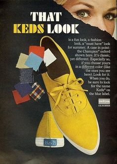 Vintage Canvas Keds Shoes Ad From Mademoiselle, May 1965 Look at those pointed toes! Retro Advertising, Retro Ads, Vintage Advertisements, Vintage Ads, Vintage Style, 60s Style, Vintage Posters, Shoes Ads, Keds Shoes