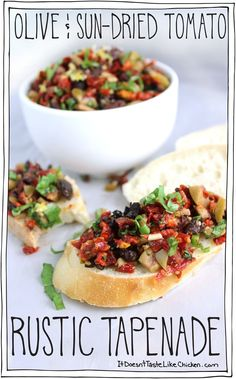Olive & Sun-Dried Tomato Rustic Tapenade-- salty and rich olives, the sweet chewy sun-dried tomatoes, fresh basil, garlic, and a bright note of lemon Italian Appetizers, Vegan Appetizers, Appetizers For Party, Appetizer Recipes, Thanksgiving Appetizers, Individual Appetizers, Wine Appetizers, Make Ahead Appetizers, Vegan Thanksgiving