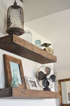 Easy DIY floating shelves to fill up those empty walls! These plans were made from the Shanty 2 Chic Plans (as seen on HGTV) To view the entire post/process hea…