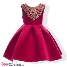 Hot Pink Gold Lace Neck Kids Dress