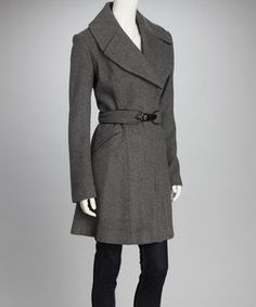 zulily Vince Camuto Light Gray Slit Collar Wool-Blend Trench Coat