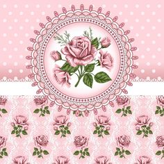 .Pink rose accent on pink floral and polka dot