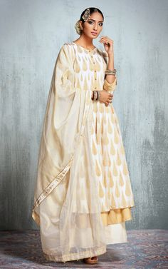 white and gold suit, double layered suit, white silk dupatta, gold jhoomer
