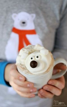 Surprise your kids with polar bear hot chocolate. A fun twist on a winter drink using marshmallows!