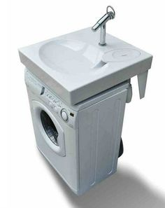 Space saving washbasin, flat bathroom sink fits above washing machine. - To…