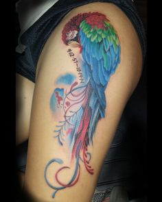 tattoo, watercolor tattoo, parrot tattoo, freddy payne