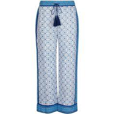 Talitha Blue & White Printed Pyjama Pants ($390) ❤ liked on Polyvore featuring pants, capris, boho pants, stretch waist pants, relaxed fit pants, tie pants and elastic waist pants