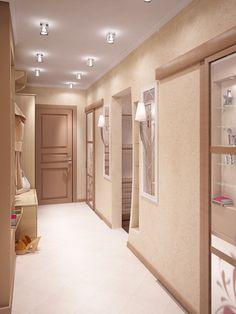 Белый сатиновый натяжной потолок в коридоре с дизайнерскими светодиодными светильниками