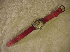 OLD Mickey Mouse Watch US TIME WDP red strap, currently works Hands Move USA