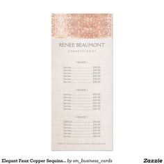 Elegant Faux Copper Sequins Salon Price List Menu Rack Card Template. Classy and glamorous rackcard featuring realistic digital image of  beige linen background accented by realistic digital image of rose gold sequin pattern. A sophisticated and stylish design perfect for cosmetologists, hair stylists, makeup artists, party and wedding planners and more.