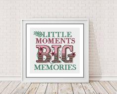 Modern Cross Stitch Chart Pattern -Little Moments Big Memories cross stitch pattern -  counted cross stitch Chart (5.00 GBP) by PeppermintPurple