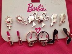 Barbie Girl earrings silver with classic silo head / modern ponytail logo Barbie Life, Barbie Dream, Barbie World, Barbie Makeup, Barbie Shoes, Barbie Birthday, Barbie Party, Piercings, Barbie Accessories