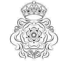 Line Art Flowers Tudor Rose Black White Line Art Tattoo