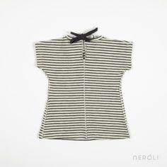 Vestido rayas antracita para bebé de 1 + In The Family. #baby #fashion #dress #NeroliByNagore #SS14 #OneMoreInTheFamily