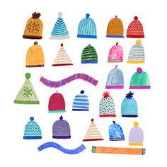 Christmas bobble hats illustration. Beatrice Cerocchi