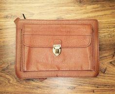 wrist bag vintage wristlet tan genuine leather