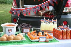 Creative Party Ideas by Cheryl: Football Tailgate Party with Custom Team Labels love the Toomers lemonade. Football Tailgate, Auburn Football, Football Snacks, Tailgate Food, Football Season, Tailgating Ideas, Auburn Tigers, Tailgate Parties, Auburn Game