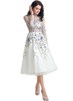 MagBridal Bridal Dresses Online,Wedding Dresses Ball Gown, wonderful tulle illusion high collar see through tea length a line evening dresses with lace appliques Modest Dresses, Ball Dresses, Pretty Dresses, Casual Dresses, Short Dresses, Prom Dresses, Bridesmaid Dresses, Tea Length Wedding Dress, Sexy Wedding Dresses
