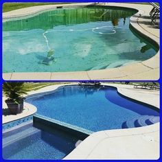 Before and after pic- #Resurface #NewTile #Waterfall feature #LizarragaChimneyPoolAndMasonry