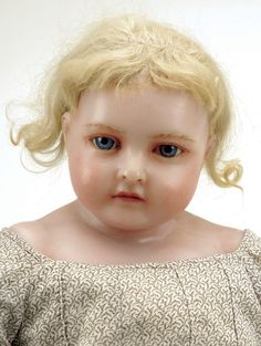 645: Large English Poured Wax Child with Inset Hair : Lot 645