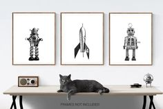 Title: Set of 3 Retro Robot and Rocket Wall art prints You get 3 photos or canvas in whatever size you choose from the drop down menu. 1. Robbie the Robot 2. Retro No.4 Rocket 3. Sparky the Space Robot These photos will be printed with love on premium finish photo paper that wont curl or yellow Retro Robot, Wall Art Prints, Framed Prints, Outer Space Nursery, Photos, Photographs, Menu, Drop, Boy Room