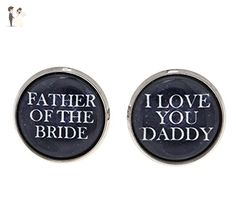 Father of the Bride Cufflinks - Cufflinks For Father of the Bride - Wedding Accessories - Wedding Cufflinks - Cufflinks For Dad - Wedding Keepsake - Dad Cufflinks - Father Cufflinks - Groom cufflinks and tie clips (*Amazon Partner-Link)