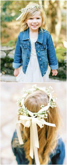 Casual flower girl, jean jacket, baby's breath flower crown, cream silk ribbons, curly hair // JoPhoto
