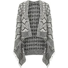 Miss Selfridge Pattern Waterfall Cardigan, Black/White (3,540 INR) ❤ liked on Polyvore featuring tops, cardigans, miss selfridge, fringe cardigan, black and white cardigan, fringe top and drapey cardigan
