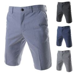 Men's Flat Front Casual Dress Shorts Basic Solid Cotton Blend Suits Pants ALSP06
