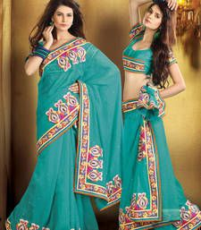 Bollywood hot saree in Grama Green (VLB-12)  georgette-saree @ www.mirraw.com