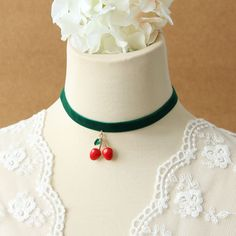 Funny and sweet green Velvet choker Necklace decorated with Cherry Pendant