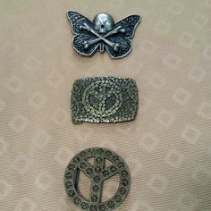 Bundle of 3 belt buckles   Save!! Save!! Save!!   BUNDLE 2 OR MORE ITEMS AND SAVE 20% OFF  Want something and have any offer?Let me know Thank you for checkingoutmy closet More good deals and new items coming soon   Excellent condition,they are big,very funky cool buckles Accessories Belts