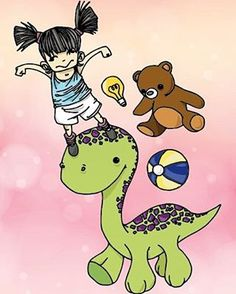 #flydesign #illustration #colour #art #girl #teddybear #dinosaur #vectorart