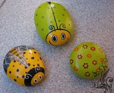 Ideas to paint cute insects on rocks!  These would be perfect for the backyard and garden!