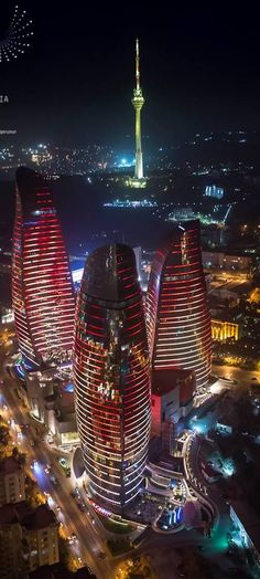 Flame Towers by night ~ in Baku the largest city in the Caspian Sea Azerbaijan ~ designed by HOK, a US based architecture and engineering firm