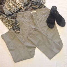 "Ann Taylor gray khakis EUC Deep front pockets. Button down flap back pockets. Two hook, inside button closure. Side button for rolling up legs. 30"" inseam, 7"" leg opening, 2 1/2"" zipper. 7 1/2"" rise, 14"" waist Ann Taylor Pants"