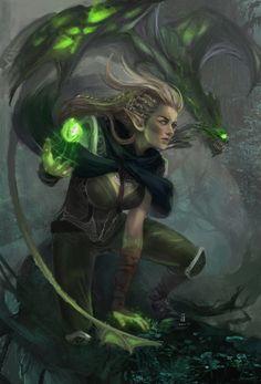 Scene Illustration: Elven with the dragon by adelair.deviantart.com on @DeviantArt