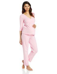 Japanese Weekend Women s Maternity and Nursing Sleeve Surplice Pajama Set 92754825b