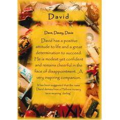 David ~ Name meaning ~ unused postcard