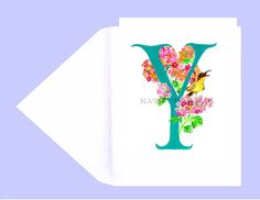 Personalized Letter W Greeting Card Note Card W For Wolf