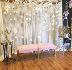 How to Make Wedding Decorations on a Budget - Sheer Curtain Backdrop with String Lights - Floral Backdrop - Wedding Stage Decorations, Engagement Decorations, Backdrop Decorations, Backdrop Ideas, Wedding Backdrops, Backdrop With Lights, Wall Backdrops, Photo Booth Backdrop, Photo Booths