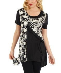 Loving this Black & White Abstract Swirl Tunic on #zulily! #zulilyfinds