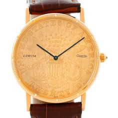 Corum 18K Yellow Gold 20 Dollars Coin Year 1876 Mens Watch
